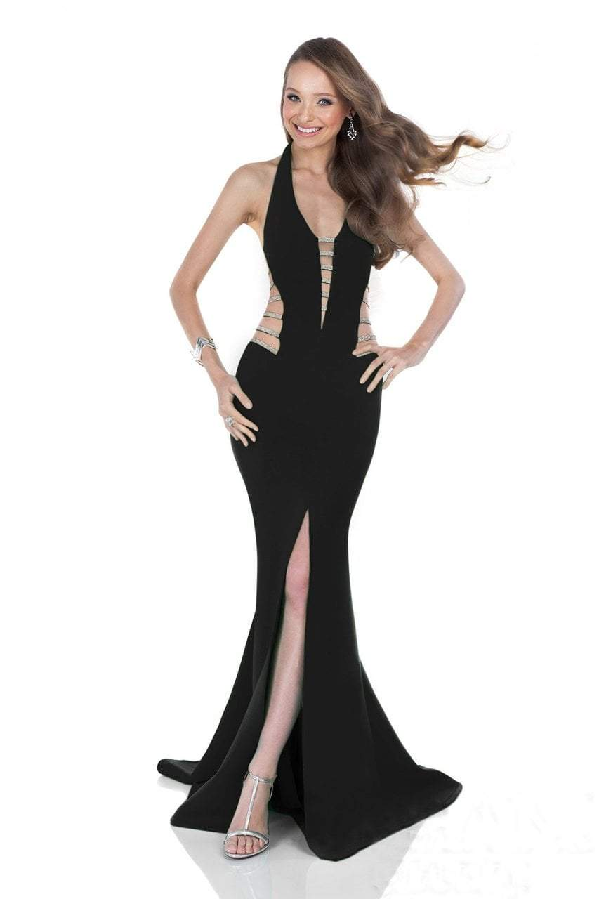 Terani Couture - 1611P0214A Cutout Detailed Mermaid Gown in Black