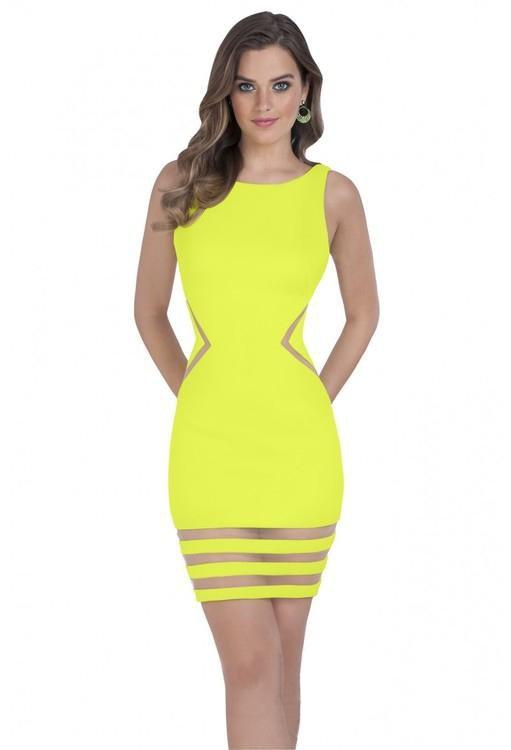 Terani Couture - 1611P0003A Sheer Striped Sleeveless Cocktail Dress in Yellow