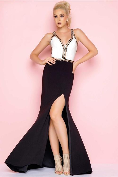 Mac Duggal - 77240L Flash Style in White and Black