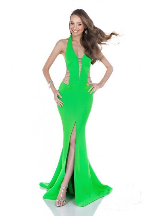 Terani Couture - 1611P0214A Cutout Detailed Mermaid Gown in Green