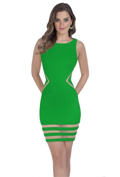 Terani Couture - 1611P0003A Sheer Striped Sleeveless Cocktail Dress in Green
