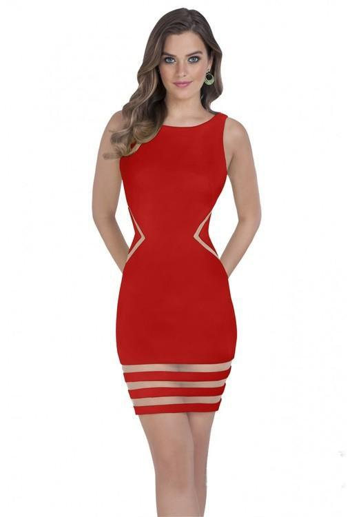 Terani Couture - 1611P0003A Sheer Striped Sleeveless Cocktail Dress in Red