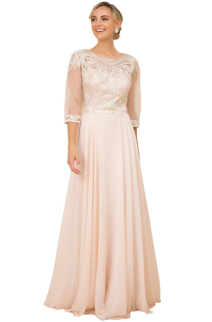 Nox Anabel - Illusion Quarter Sleeve Lace Ornate A-Line Dress Y512 In Gold
