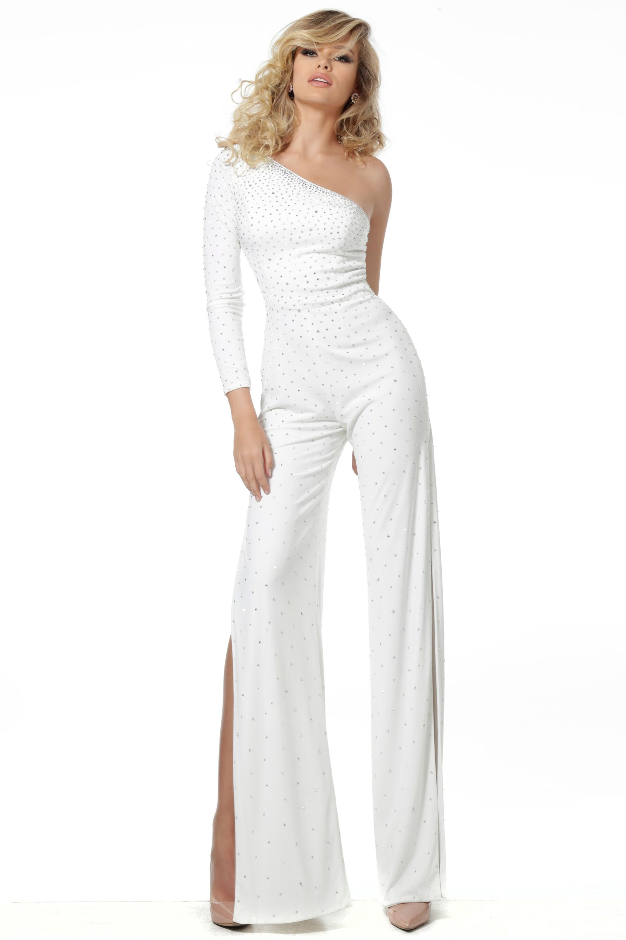 Jovani - 1723 Embellished Asymmetric Stretch Jersey Jumpsuit In White