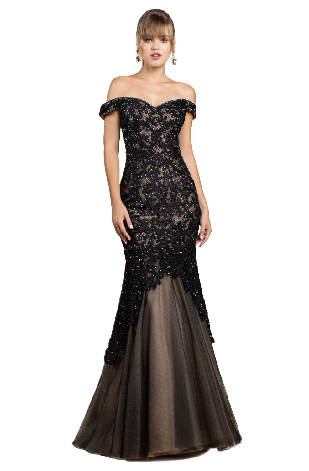 Cinderella Divine - A0401 Off Shoulder Lace Overlay Tulle Mermaid Gown In Black and Neutral