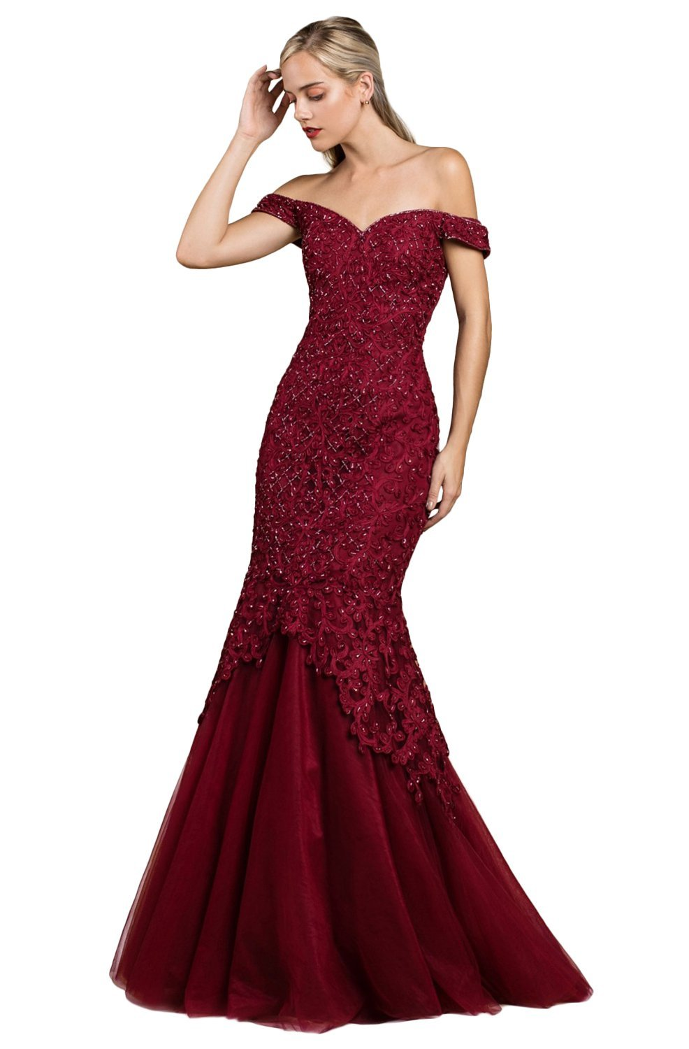 Cinderella Divine - A0401 Off Shoulder Lace Overlay Tulle Mermaid Gown In Red