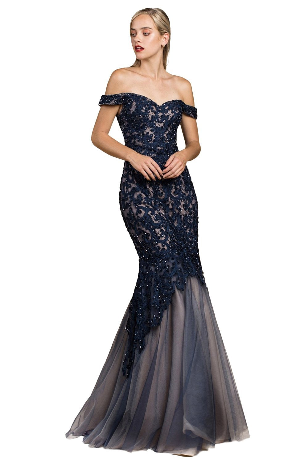 Cinderella Divine - A0401 Off Shoulder Lace Overlay Tulle Mermaid Gown In Navy