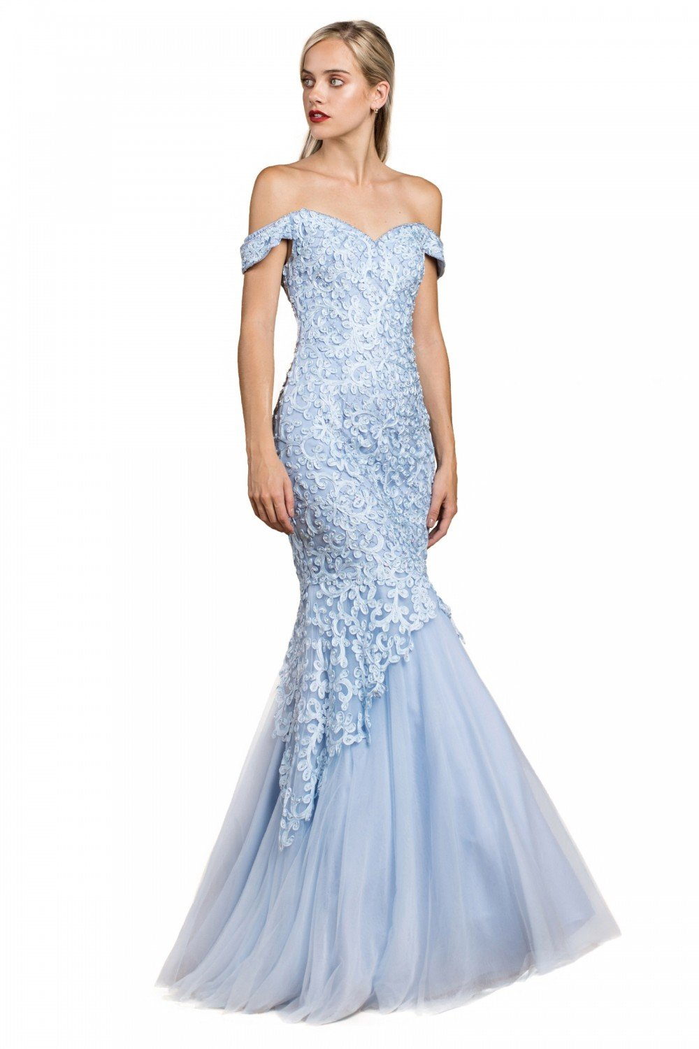 Cinderella Divine - A0401SC Off Shoulder Lace Overlay Tulle Mermaid Gown