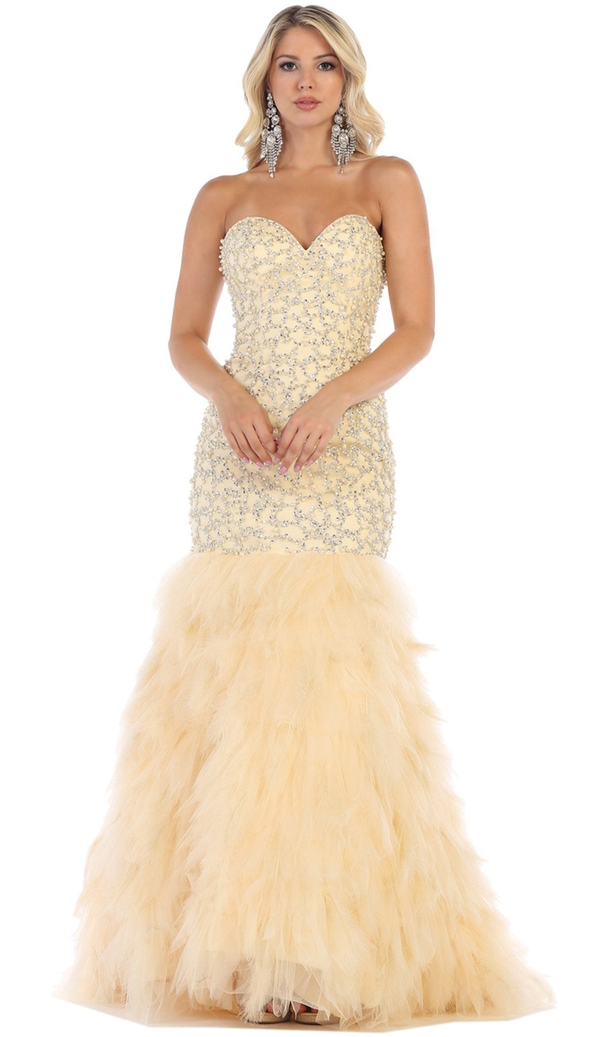 May Queen - RQ7668SC Strapless Feathered Tulle Gown
