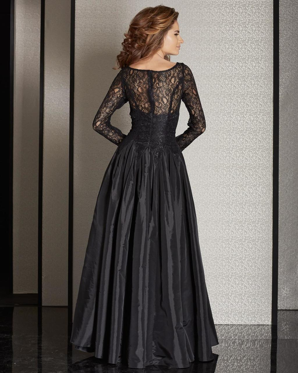 Clarisse - M6205 Long Sleeve Illusion Lace Gown in Black