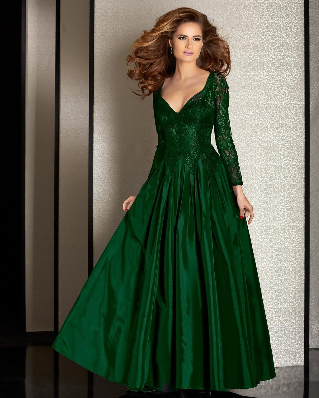 Clarisse - M6205 Long Sleeve Illusion Lace Gown in Green