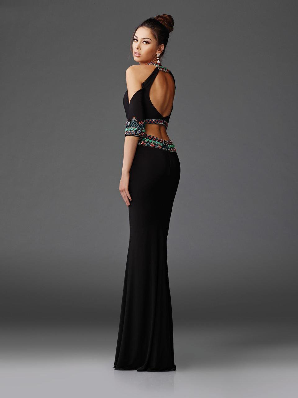 Clarisse - 4920 High Neck Two-Piece Beaded Gown in Black and Multi-Color