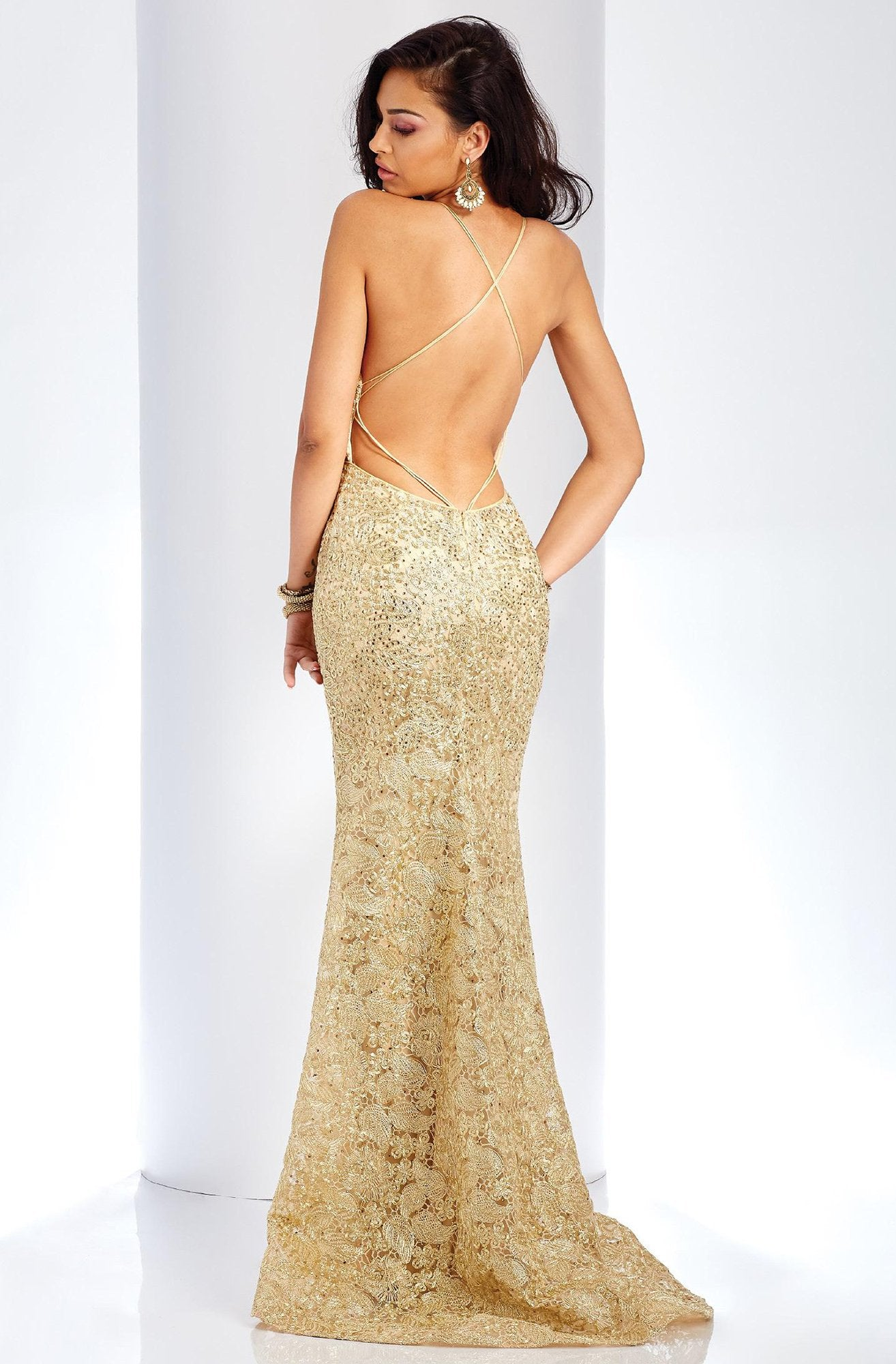 Clarisse - 4960 Deep V-neck Lace Mermaid Dress in Gold