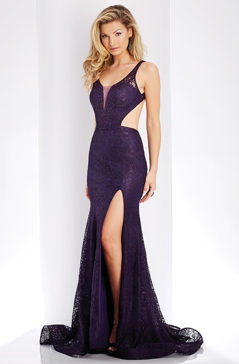 Clarisse - 3448 Lace V-neck Sheath Dress in Purple