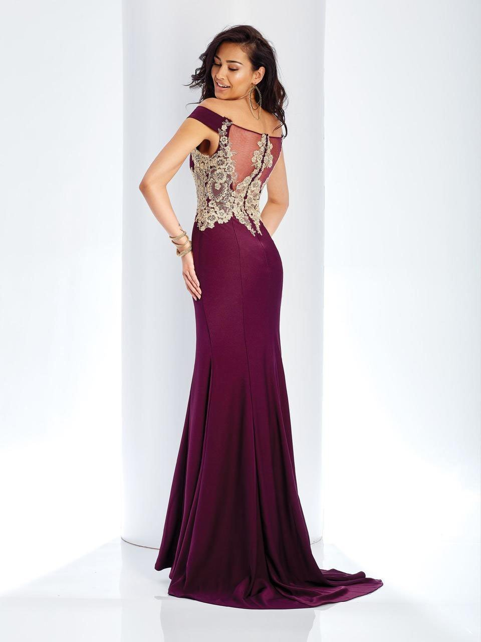 Clarisse - 3452 Gold Lace Applique Evening Gown in Purple
