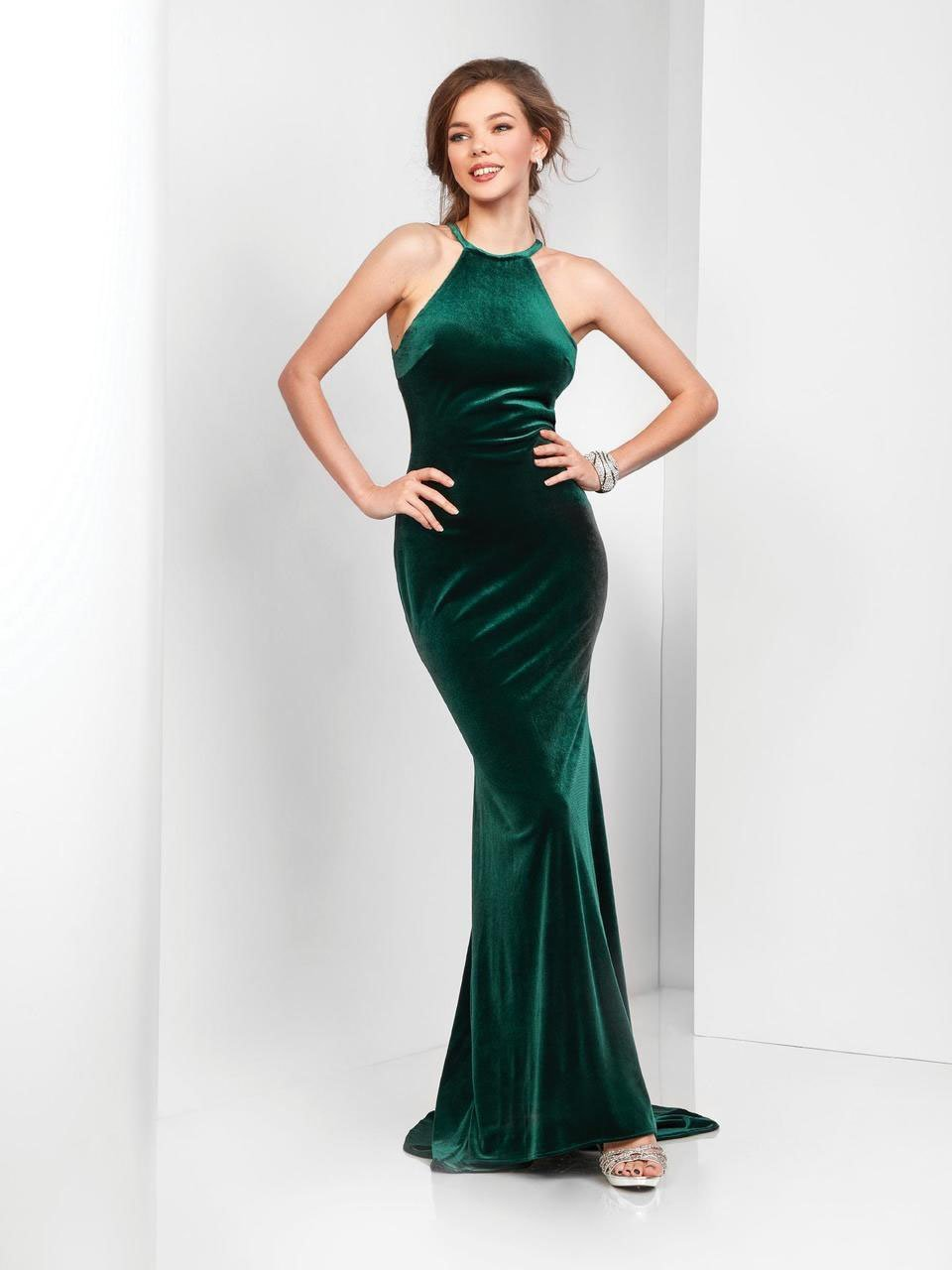 Clarisse - 3468 Velvet Halter Cutout Sheath Gown in Green