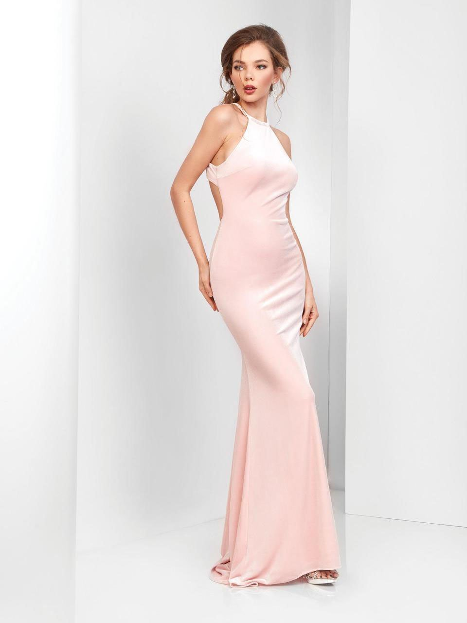 Clarisse - 3468 Velvet Halter Cutout Sheath Gown in Pink