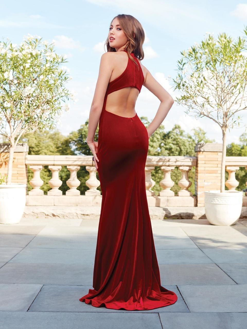 Clarisse - Halter Long Velvet Sheath Gown 3468SC
