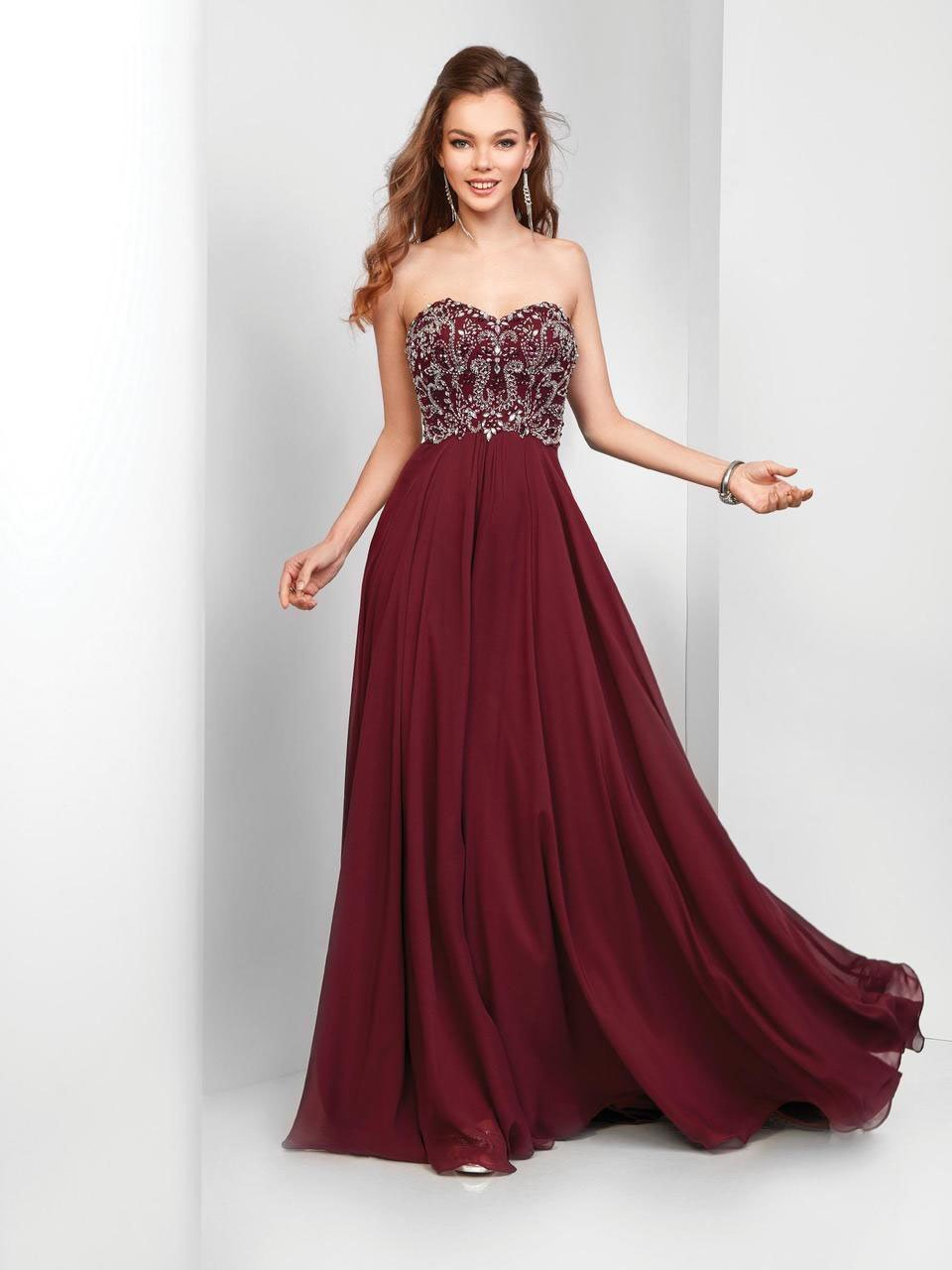 Clarisse - 3472 Strapless Paisley Motif Chiffon Gown in Red