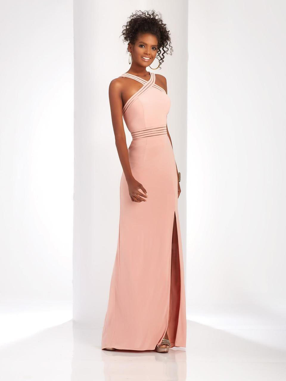 Clarisse - 3483 Sheer Striped Halter Strap Gown in Pink