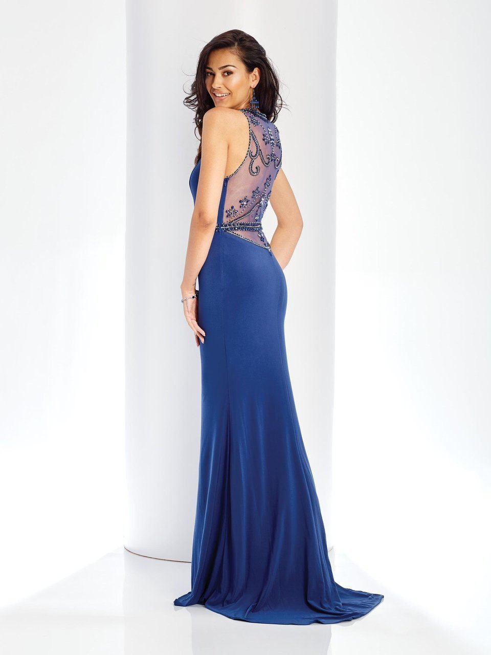 Clarisse - 3511 Bejeweled High Illusion Halter Gown in Blue