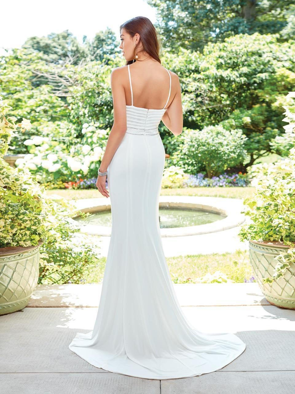 Clarisse - 3534 Fitted Halter Evening Gown in White