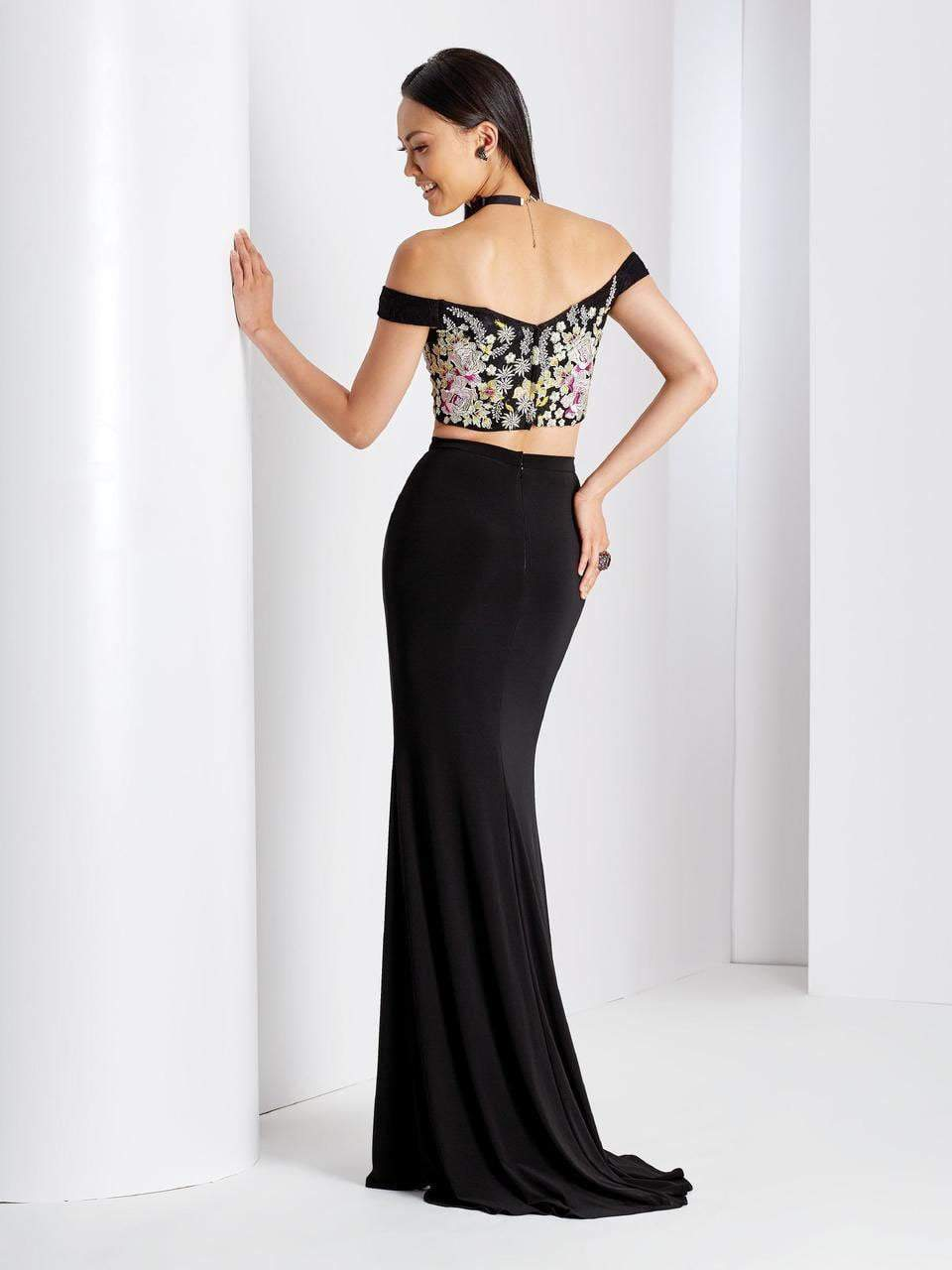 Clarisse - 3556 Off Shoulder Floral Two Piece Dress in Black and Multi-Color