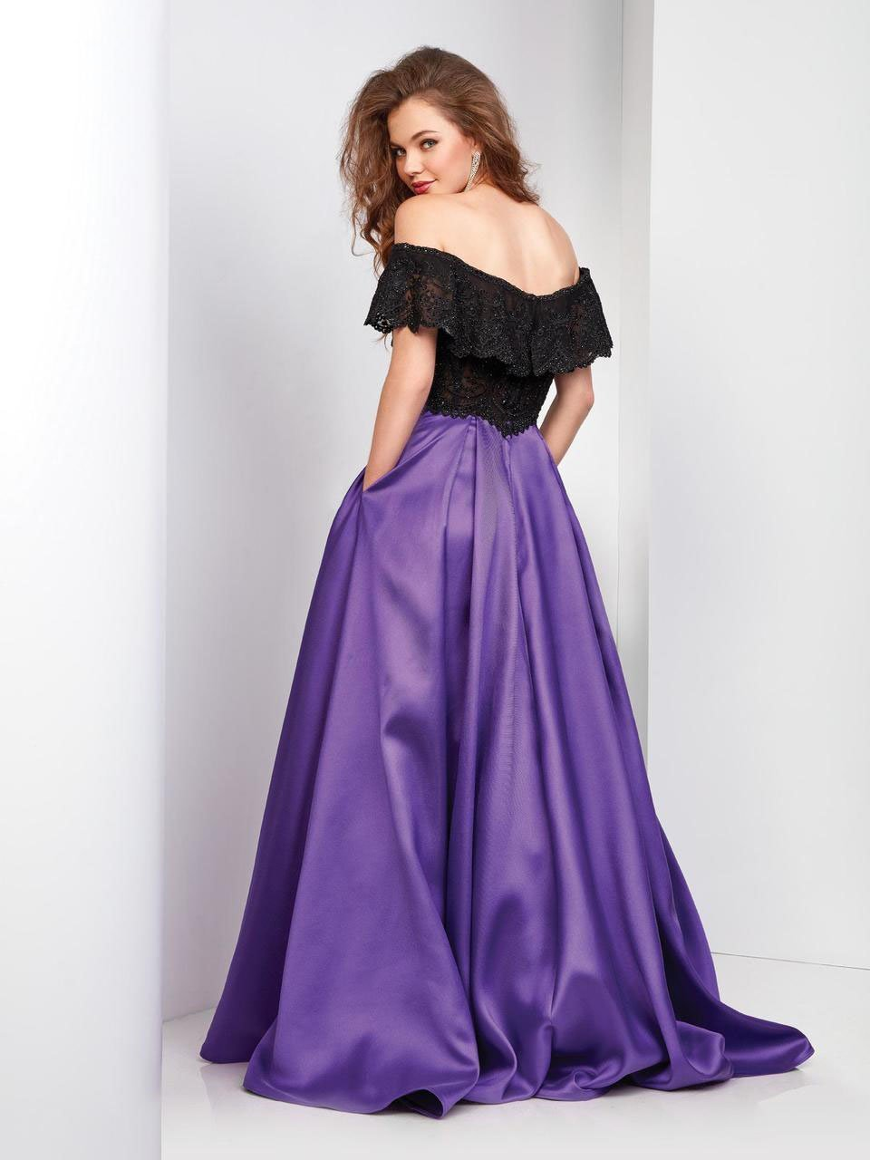 Clarisse - 3582 Off Shoulder Lace Pleated Gown in Black and Purple