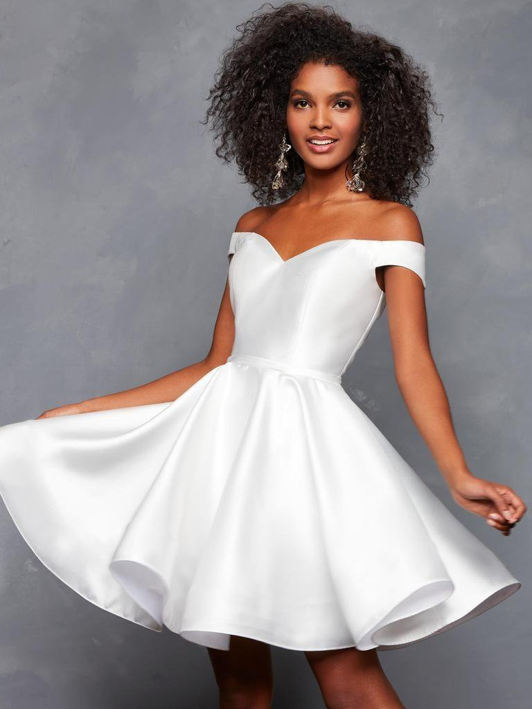 Clarisse - S3442 Off Shoulder Lace-Up Back A Line Cocktail Dress In White