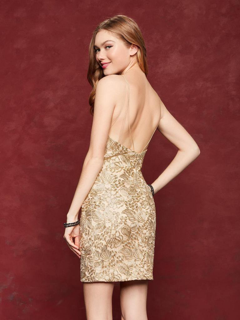 Clarisse - 3675 Metallic Lace Halter Sheath Cocktail Dress in Gold