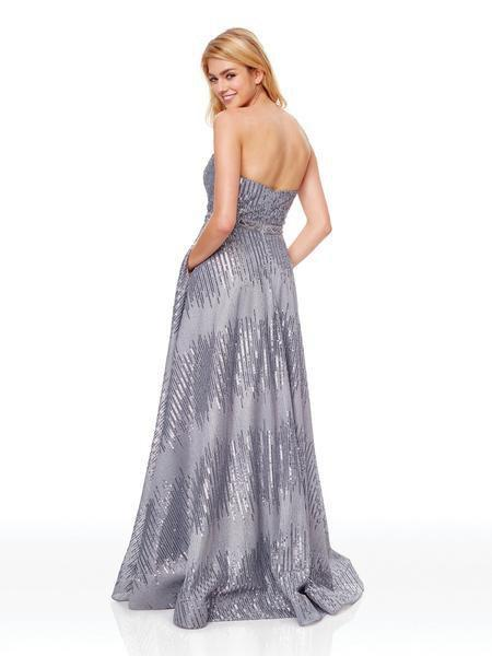 Clarisse - 3714 Strapless Sequined A-Line Evening Gown In Gray