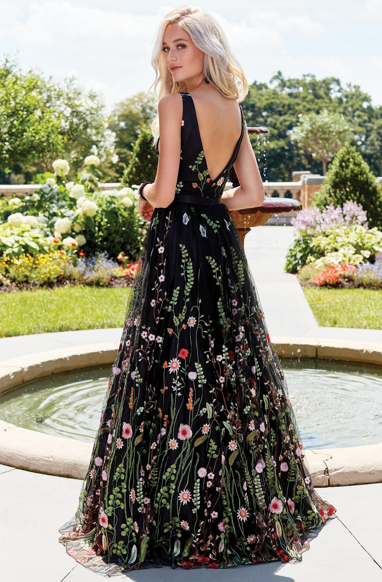Clarisse - Plunging V-Neck Floral Tulle A-Line Gown 3565 In Black and Multi-Color