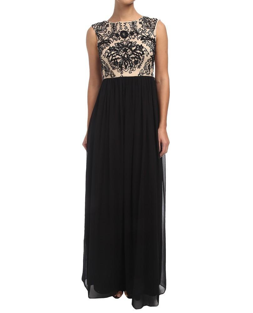 Adrianna Papell - 91899340 Beaded Cap Sleeves Chiffon Dress in Black and Neutral