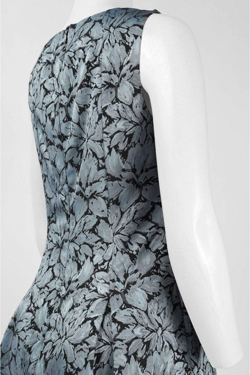 Adrianna Papell - Floral Print Jacquard Short Dress 15252820 in Floral and Blue