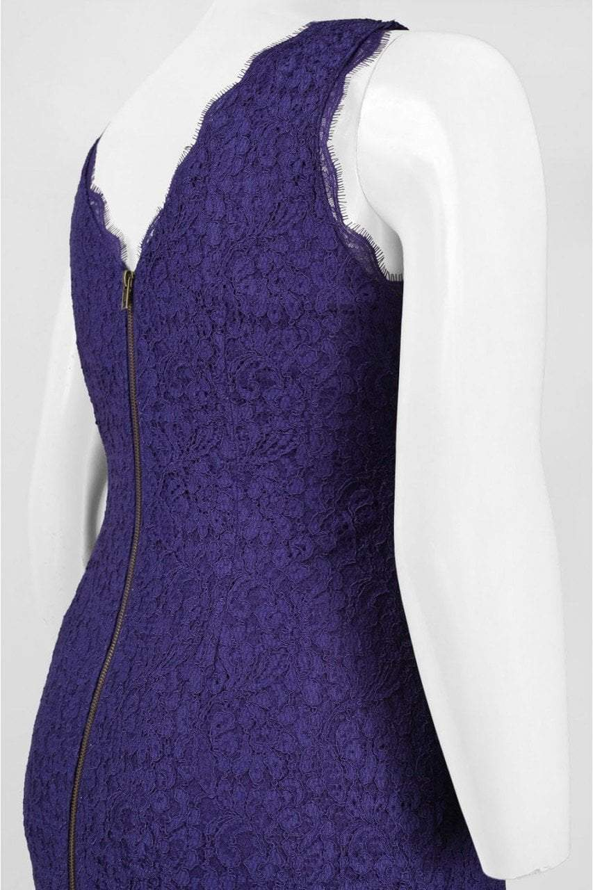 Adrianna Papell - Bateau Neck Lace Sheath Dress 41871750 in Purple