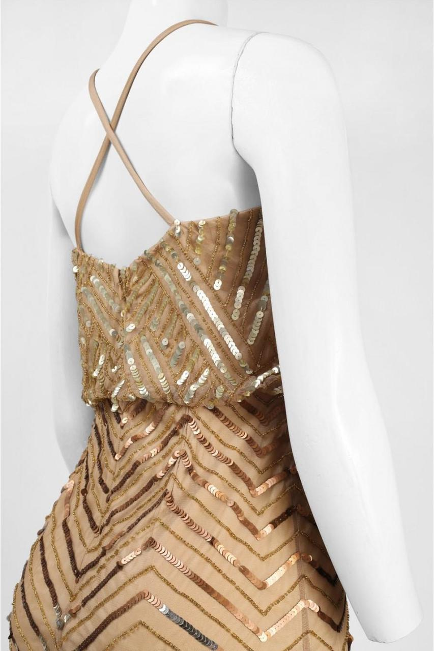 Adrianna Papell - Sequined Chevron Dress 41913670 in Gold