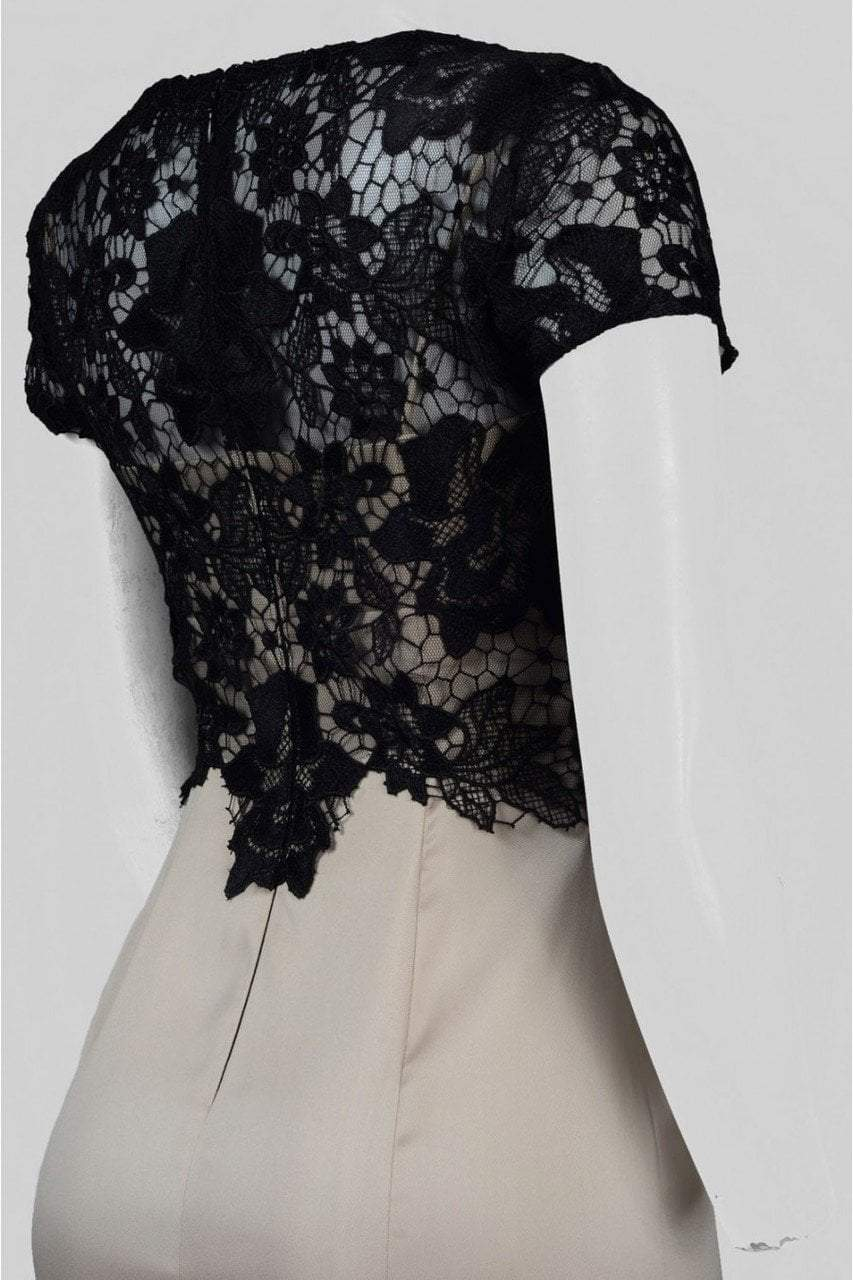 Adrianna Papell - AP1E201377 Floral Lace Sheath Dress in Neutral and Black
