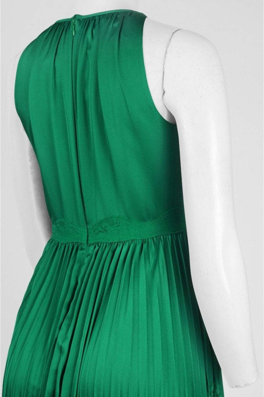 Adrianna Papell - AP1E201701 High Halter Keyhole Cutout Accordion Gown in Green