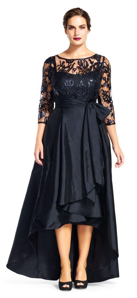 Adrianna Papell - 81916970 Quarter Sleeve Ribbon Ornate High Low Gown in Black