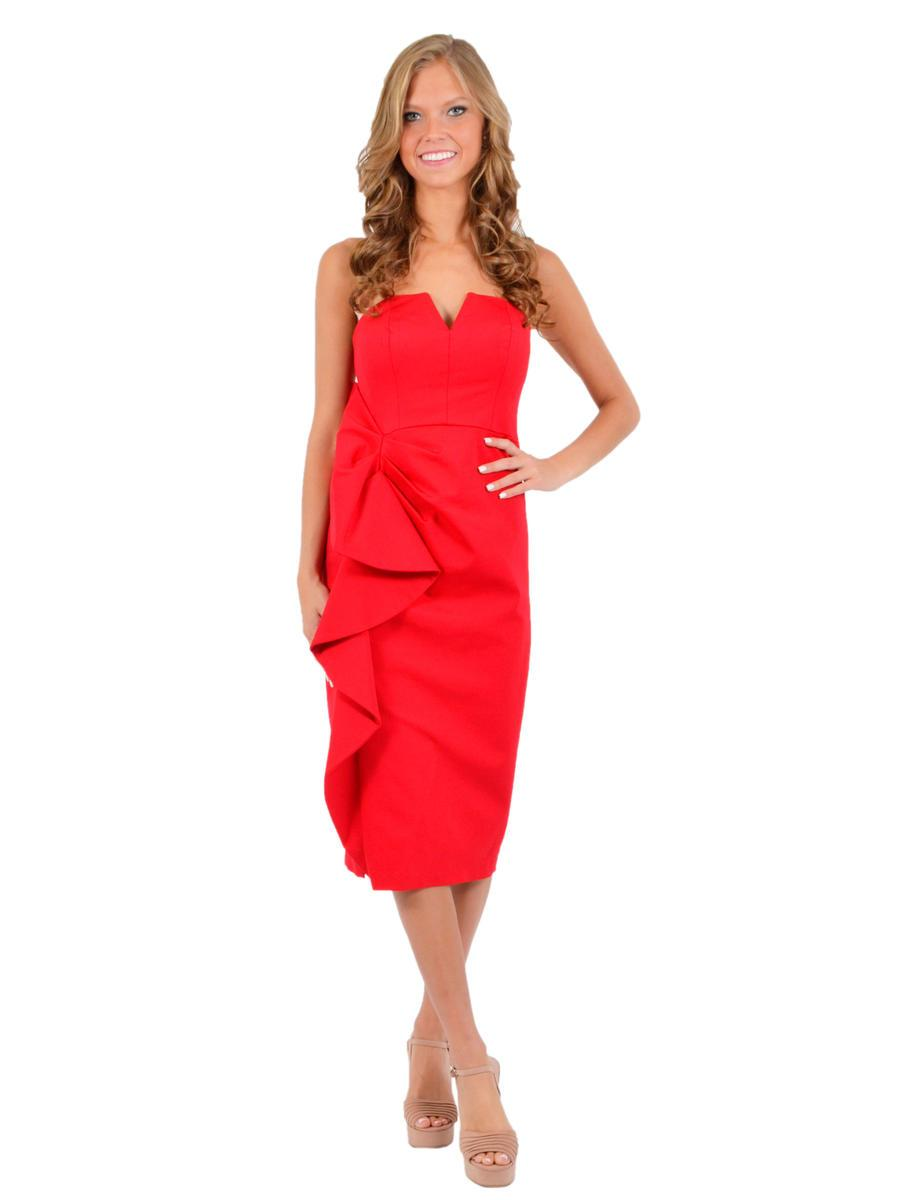 Aidan Mattox - MD1E203029 Ruffled Side Bodice Sheath Dress In Red