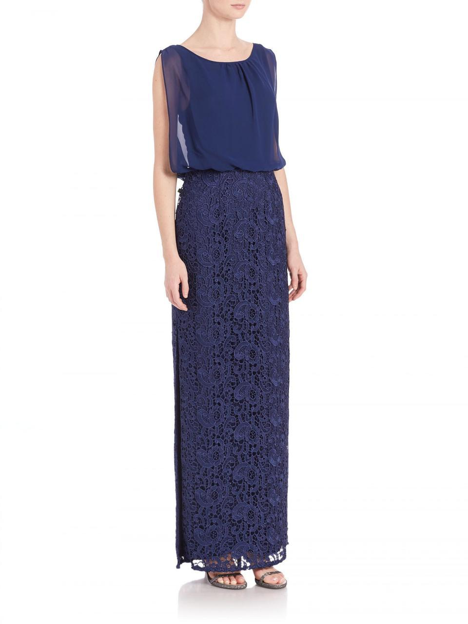 Aidan Mattox - Sleeveless Lace Long Dress 251704760 in Blue