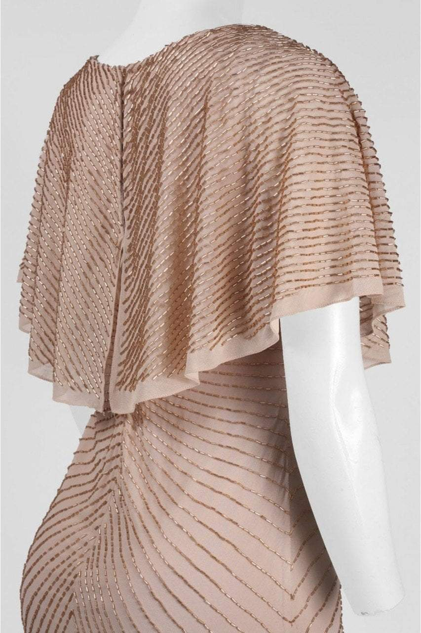 Aidan Mattox - 54473370 Cape Sleeve Beaded Chiffon Cocktail Dress in Neutral