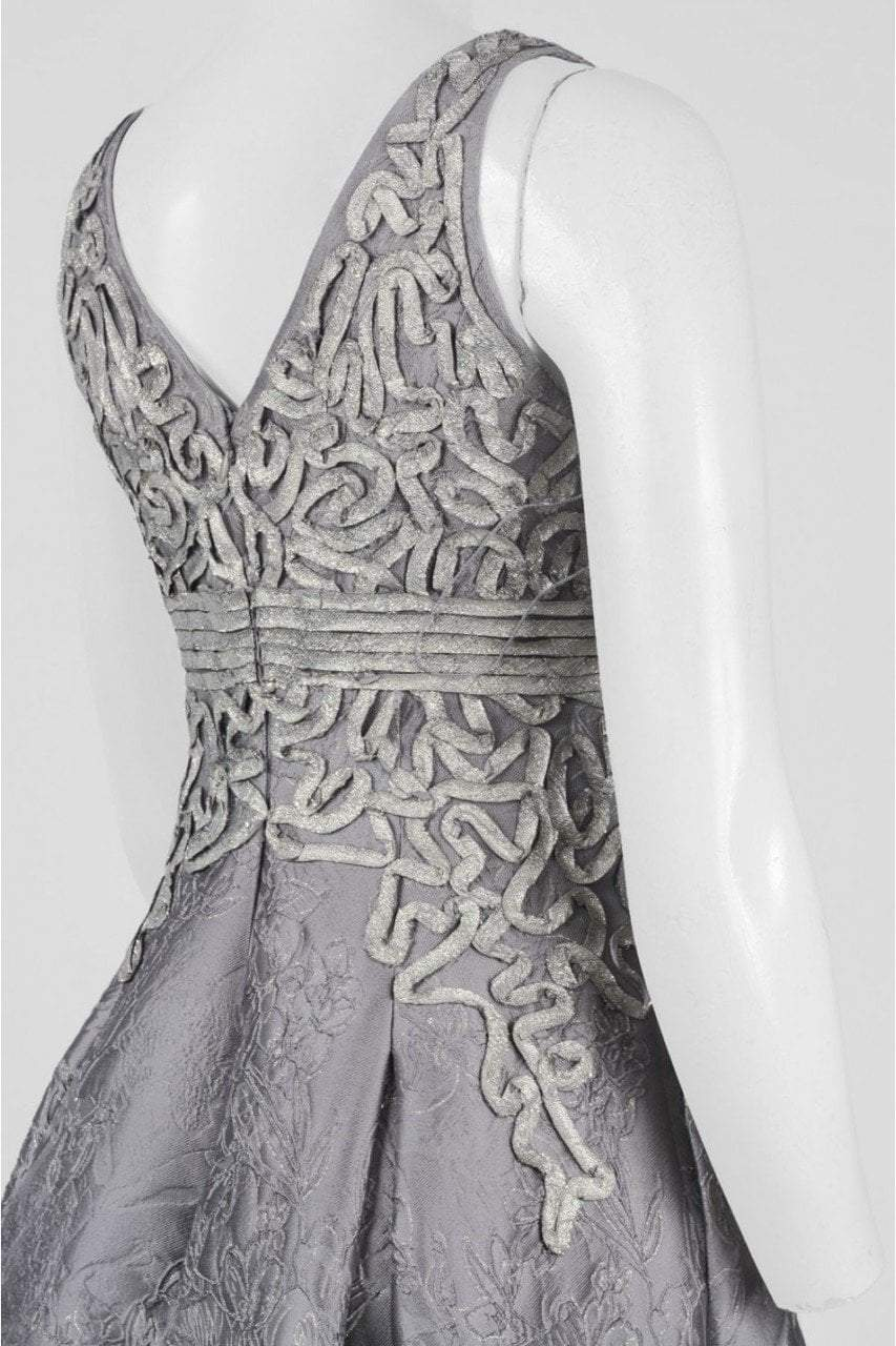 Aidan Mattox MD1E201384 Floral Sleeveless V-Neck Jacquard Ballgown - 1 pc Silver in size 10 Available