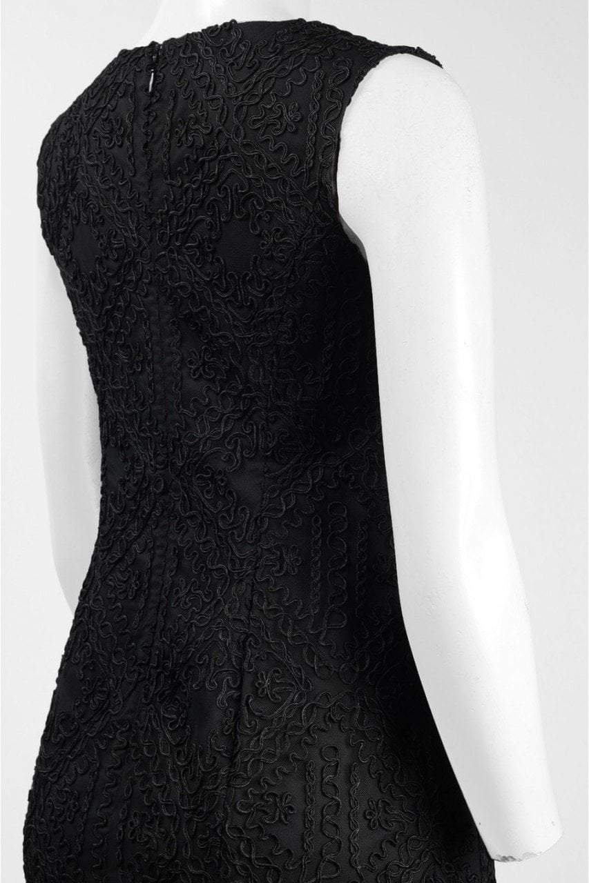 Aidan Mattox - MD1E201403 Sleeveless Soutache Embroidered Gown in Black