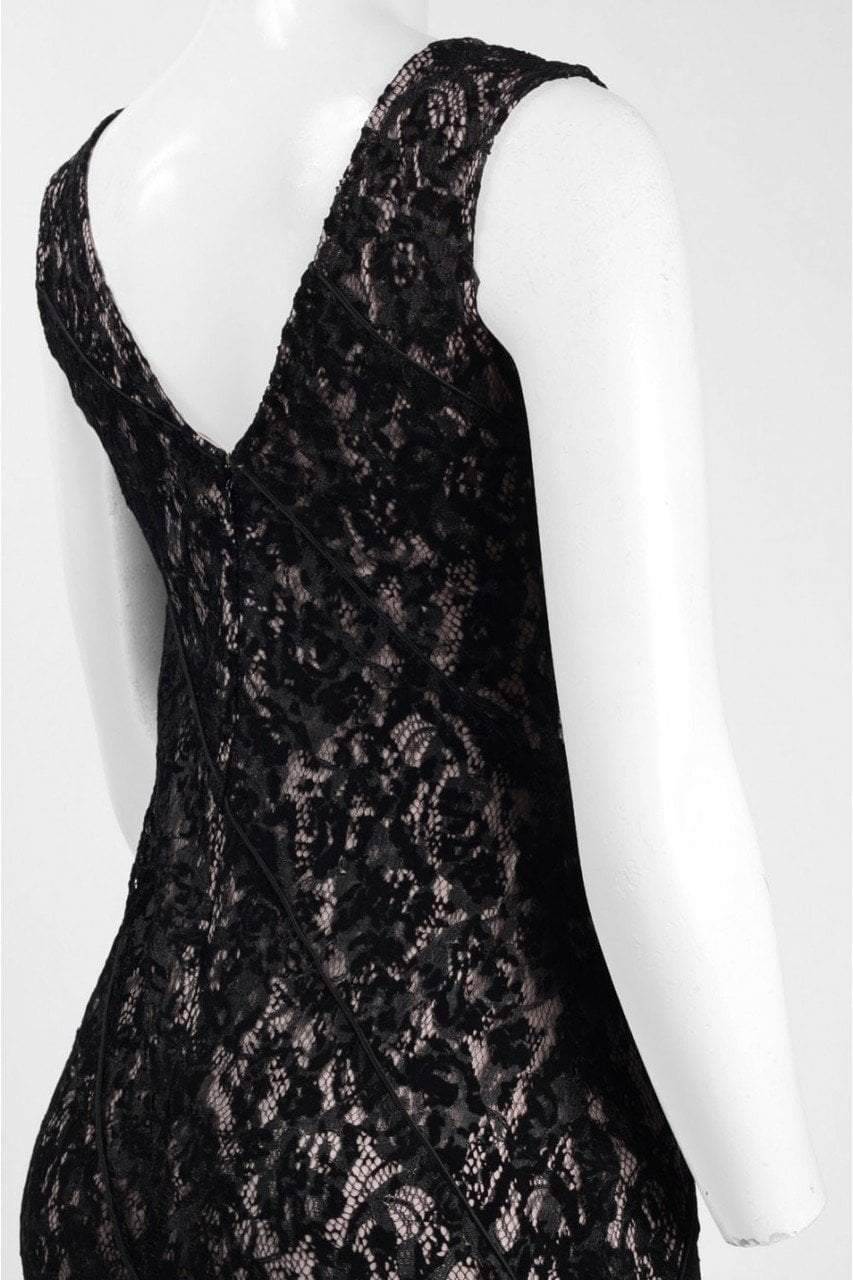 Aidan Mattox - MD1E201455 Illusion V-Neck Floral Lace Evening Gown in Black