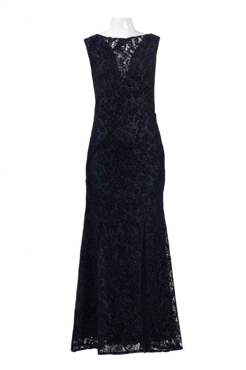 Aidan Mattox - MD1E201455 Illusion V-Neck Floral Lace Evening Gown in Blue