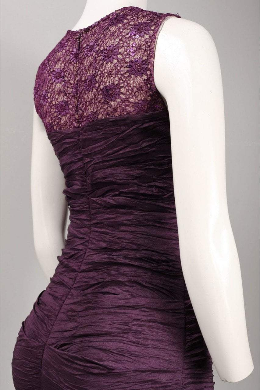 Alex Evenings - 166390 Illusion Lace Ruche-Textured Sheath Gown in Purple