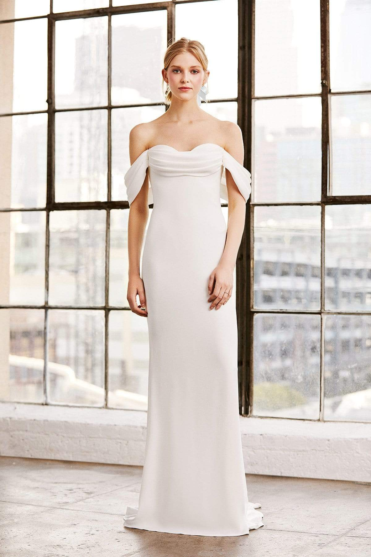 Tadashi Shoji - Amishta Off-The-Shoulder Crepe Gown Wedding Dresses