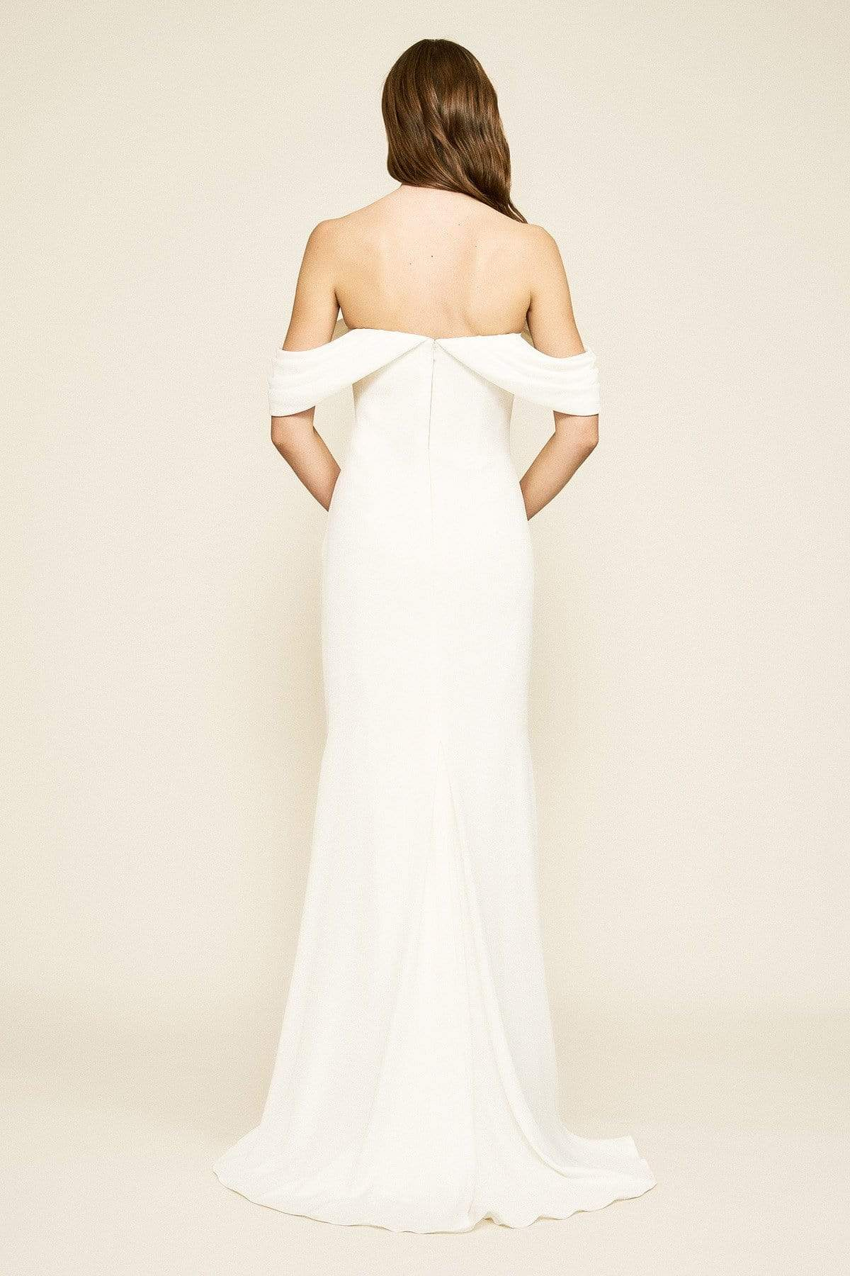 Tadashi Shoji - Amishta Off-The-Shoulder Crepe Gown In White