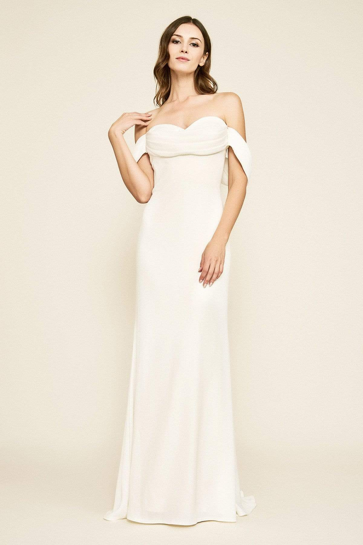 Tadashi Shoji - Amishta Off-The-Shoulder Crepe Gown Wedding Dresses 0 / Ivory